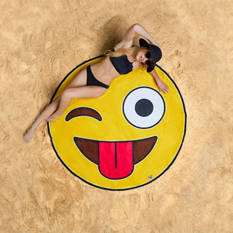 Summer Fun Beach Blanket/Towel - Crazy Emoji