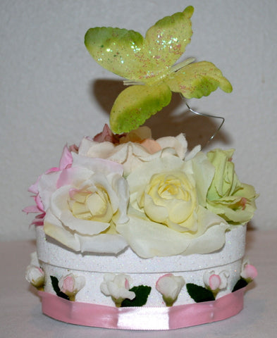 Beautiful Gift Box Decorated With Roses and Butterflies