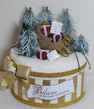 Gold Chrismas Holiday Gift Box - Believe