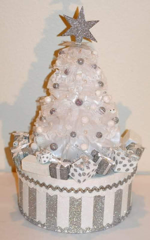 White Christmas Tree Wonderland Glittery Gift Box