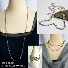 Long Silver and Copper Mixed Metal Chain Necklace