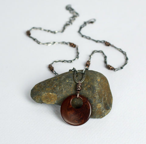 Artisan Silver and Copper Chain With Brown Tugua Pendant