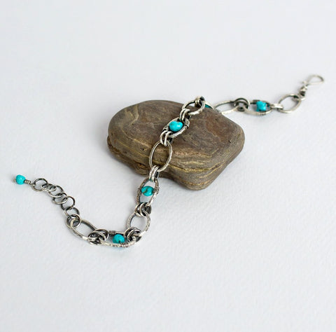 Turquoise and silver bracelet, Fused fine silver links, Turquoise nugget jewelry, Sterling clasp, December birthstone