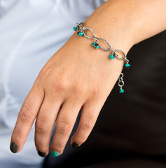 Turquoise silver link bracelet, Hand forged silver links, Swarovski crystals, Fused silver jewelry, Boho chic