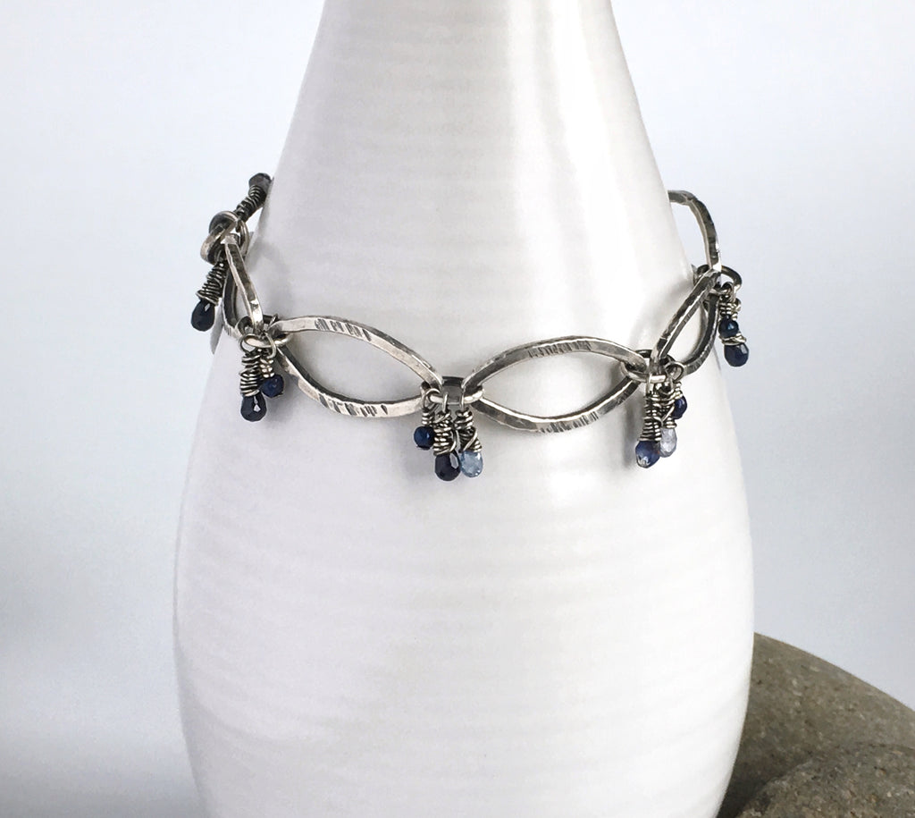 Silver Marquis Bracelet with Blue Sapphires