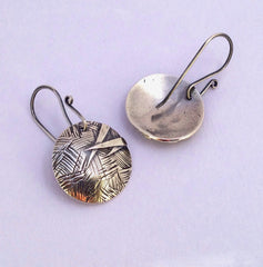 Fine silver round dangle earrings, contemporary and stylish