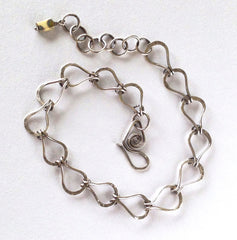 Handmade Fine Silver Link Bracelet with Czech Glass Accent Bead