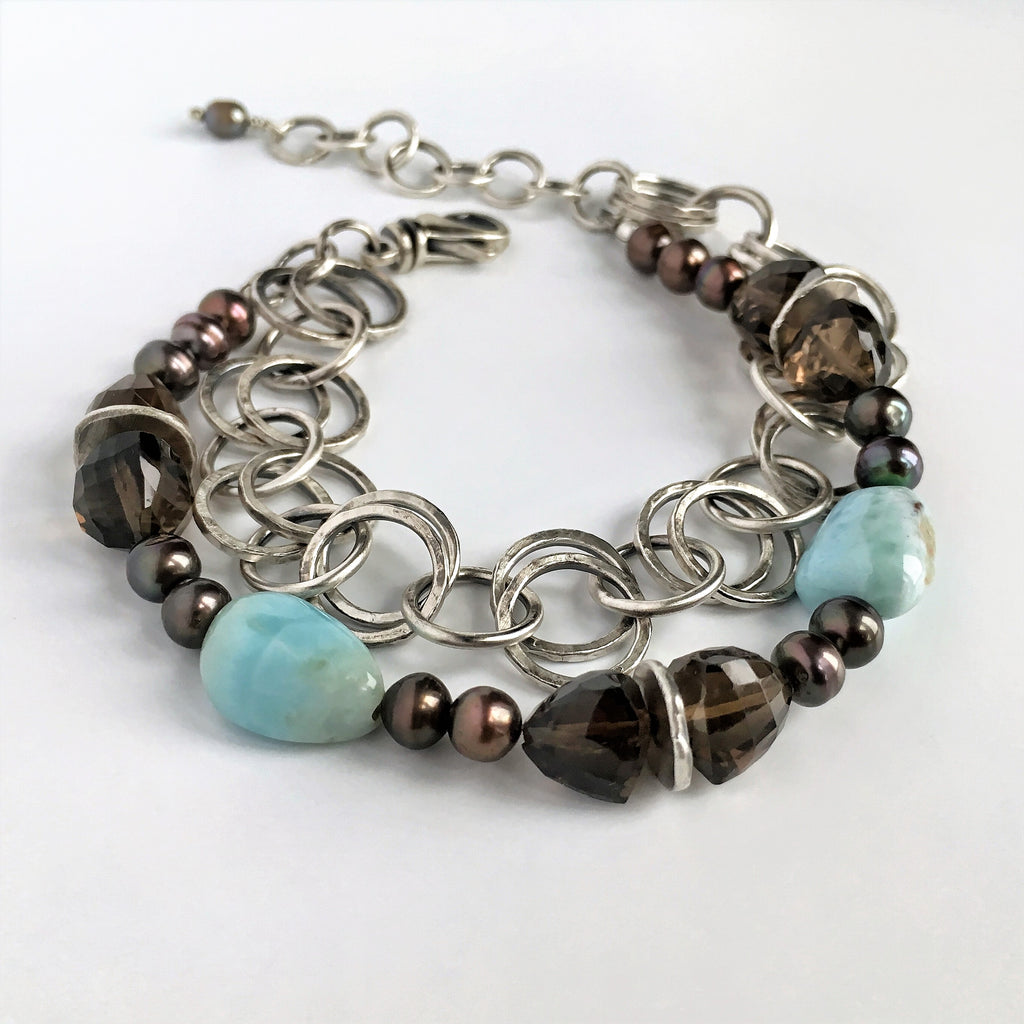Larimar, Smokey Quartz and Silver Chain Bracelet