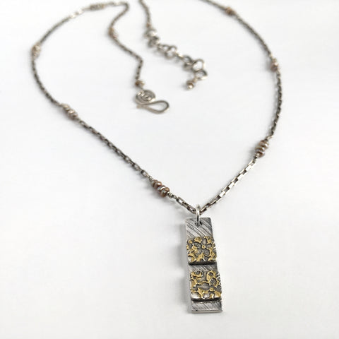 Silver and Gold Long Bar Necklace