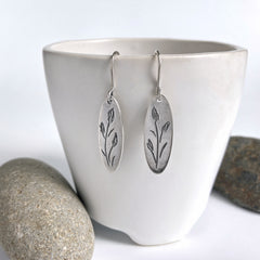 Iris Flower Bud Earrings in Silver