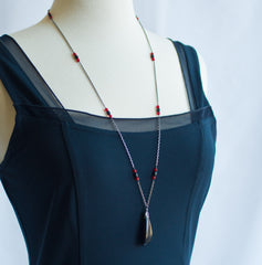 Long Sterling Silver Layering Necklace With Black Tugua Pendant