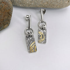 gold and silver post earrings