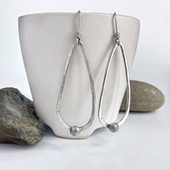 long silver teardrop earrings