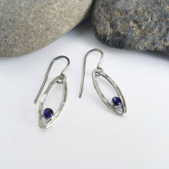 blue iolite earrings, blue and silver earrings