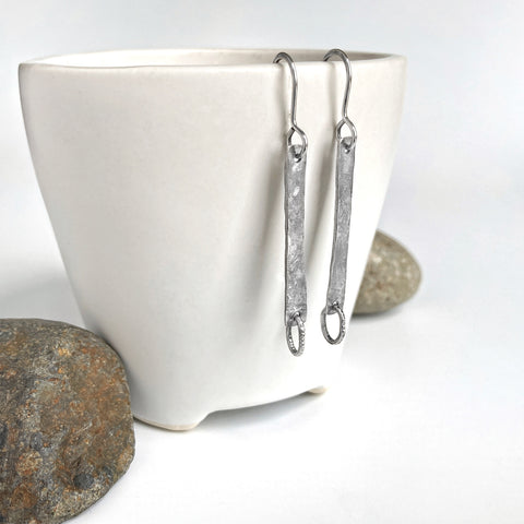 Silver Bar Dangle Earrings