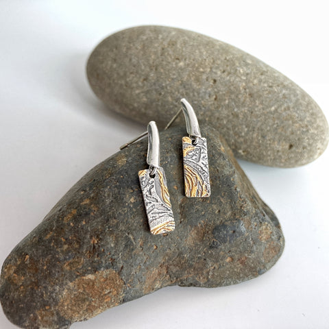 Dainty Silver and Gold Post Earrings