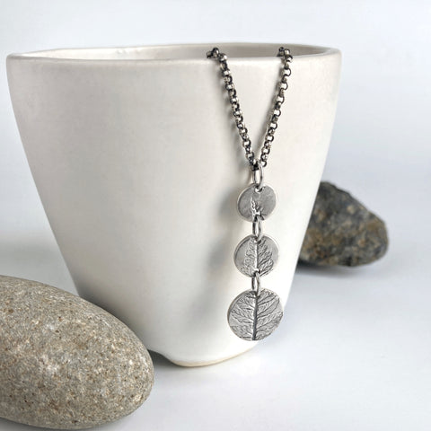 Fern Print Necklace in Silver