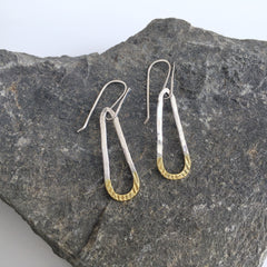 Gold Tipped Silver Teardrop Earrings