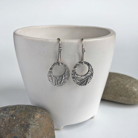 Oval Dangles Earrings in Silver