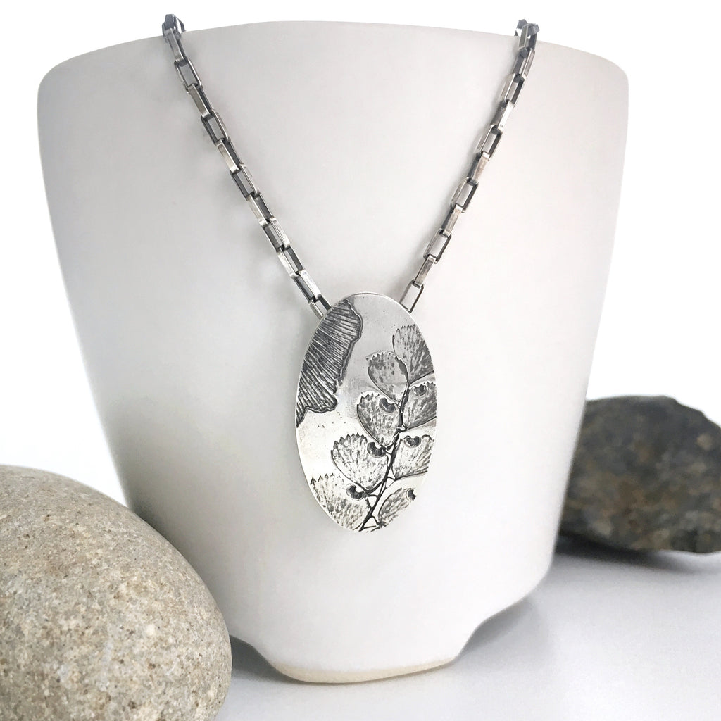 silver leaf pendant, maidenhair fern, ginkgo leaves