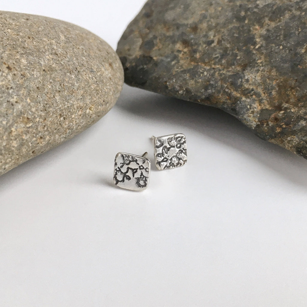 tiny square silver stud earrings
