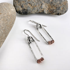 Mixed Metal Hinged Earrings