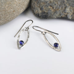 blue iolite earrings, blue earrings