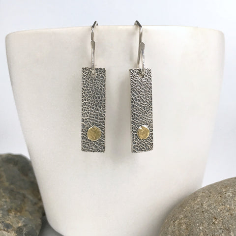 Modern Silver and Gold Bar Earrings
