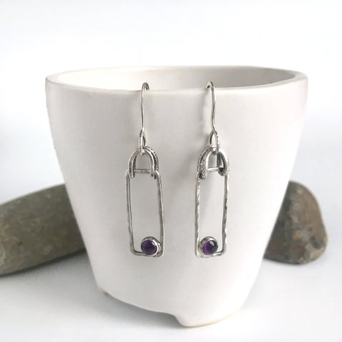 Modern Amethyst Drop Earrings