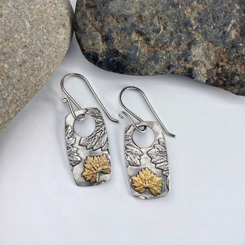 Silver and Gold Geranium Earrings