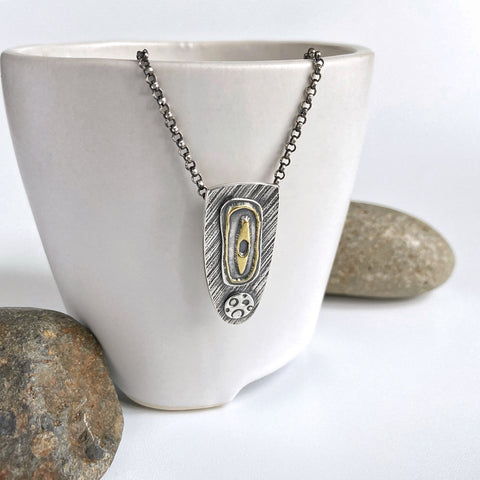 Modern Silver and Gold Pendant