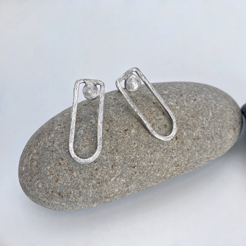 Contemporary Silver Post Earrings