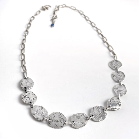 Silver Organic Disc Necklace