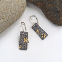 Silver and Gold Floral Earrings