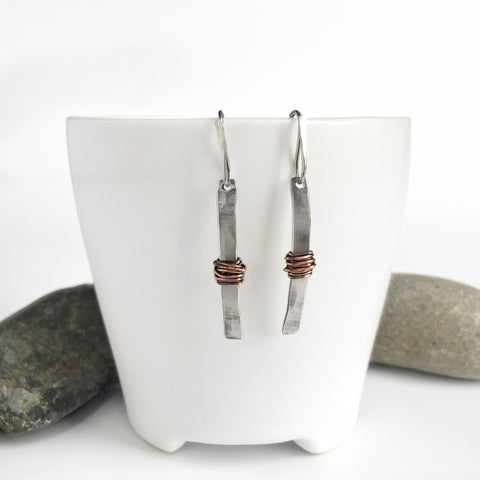 Silver and Copper Bar Earrings