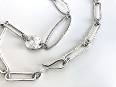 Silver Ovals and Marquis Necklace