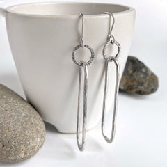 Long Silver Oval Earrings