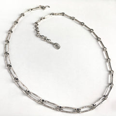 Silver Rectangle Link Chain Necklace