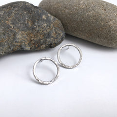 Silver Circle Post Earrings