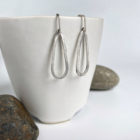 Textured Silver Teardrop Earrings