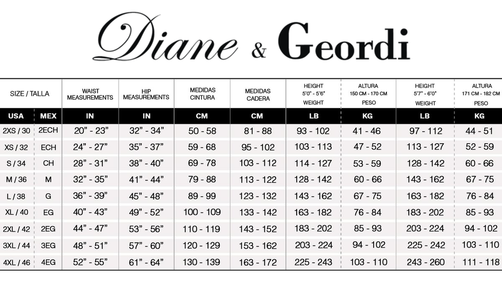 diane and geordi size chart
