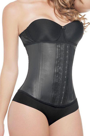 Black latex waist trainer for every day use 2 rows #2025