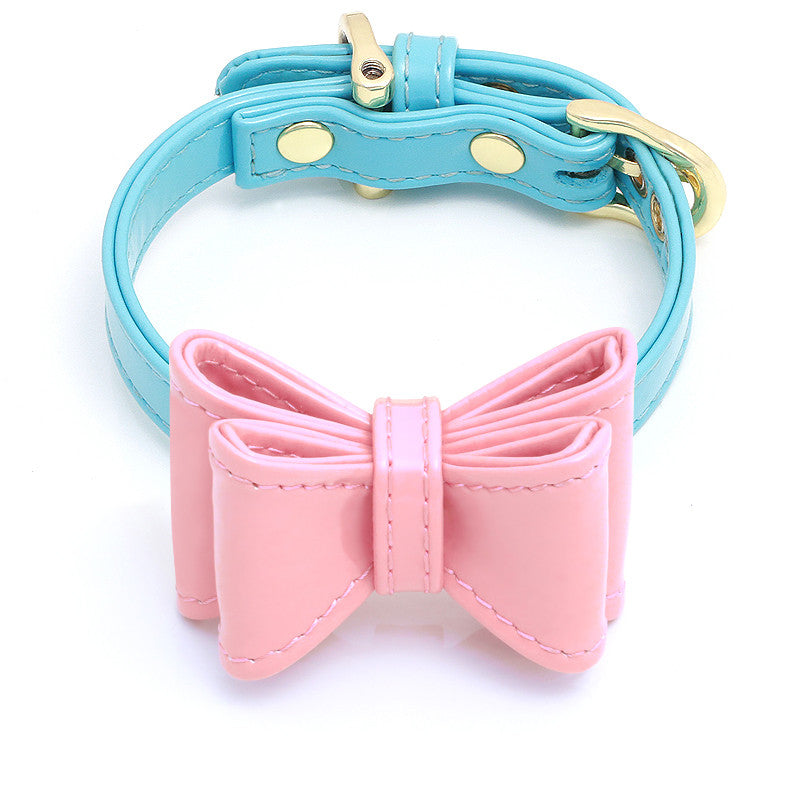 pink dog collar with bow