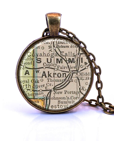 Akron Ohio Map Pendant Necklace by Paper Towns Vintage