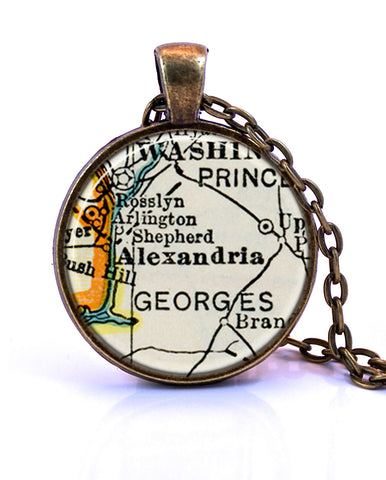 Alexandria Virginia Map Pendant Necklace by Paper Towns Vintage