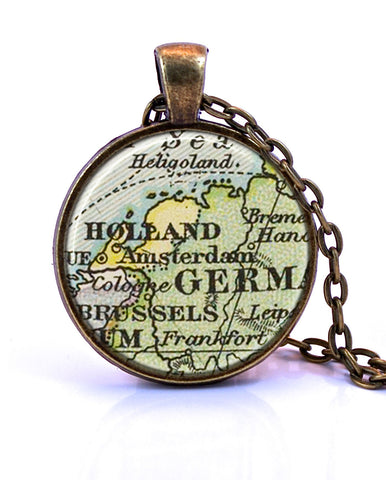 Amsterdam, Netherlands Map Pendant Necklace - created from an 1891 map.-Small Pendant-Paper Towns Vintage