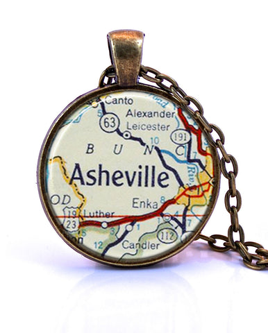 Asheville Map Pendant Necklace by Paper Towns Vintage