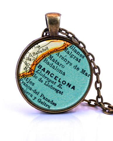 Barcelona, Spain Map Pendant Necklace - created from a 1937 map.-Small Pendant-Paper Towns Vintage