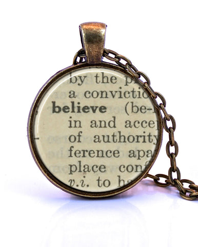 Believe Dictionary Pendant Necklace-Small Pendant-Paper Towns Vintage