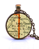 Black Hills, South Dakota Map Pendant Necklace - created from a 1937 map.-Small Pendant-Paper Towns Vintage